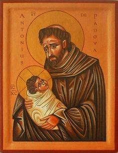 Ikone St. Anton aus Padova Anton, Saints, Blessed, Baseball Cards, Religion, Angels, Van, Painting, Saint Antonio