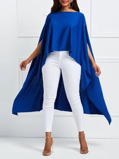 Slash Neck Plain Asymmetric Womens Cape - Look Fashion Latest African Fashion Dresses, African Dresses For Women, African Print Fashion, African Wear, Capes For Women, Clothes For Women, Cheap Clothes, Mode Outfits, Fashion Outfits