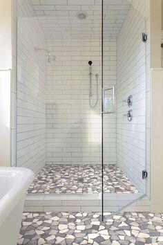 Pebble Floor, Tile Floor, Tub Tile, Shower Ceiling Tile, Shower Walls, Shower Doors, Shower Remodel, Bath Remodel, Bathroom Interior
