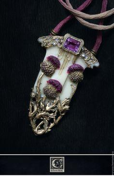 Купить Artichaut / Артишок - бордовый, фиолетовый, слоновая кость, скульптурная миниатюра, модерн