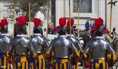 2014-05-05 Vatican Radio (Vatican Radio) Pope Francis on Monday received new members of the Pontifical Swiss Guard and their families on the eve of their swearing in ceremony in the Vatican. Listen to Lydia O'Kane's report.     May 6th marks the commemoration of the Sack of Rome in which in the year 1527 members of the Pontifical Swiss Guard gave their lives for the defense of the Church and the Pope. On the eve of that significant date in history, Pope Francis greeted the new recruits ...