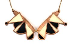 Wood & black geometric collar necklace   nylon sky jewellery