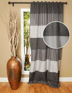 "Delfino Horizontal Stripe Curtain Panel, 96H x 48""W, GREY by Home Decorators Collection, http://www.amazon.com/gp/product/B00814K9C6/ref=cm_sw_r_pi_alp_3Pn3qb01B5XNB"