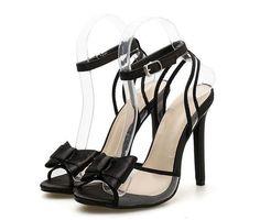 Black Satin Bow Decor Peep-Toe Stiletto Sandals Peep Toe Heels, Stiletto Heels, Heeled Sandals, Satin Bows, Black Satin, Ladies Sandals, Lady, Detail, Shoes
