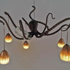 Maybe different color lights sections for jellyfish? Octopus Decor, Octopus Lamp, Octopus Bathroom, New Room, Interior Design Living Room, Home And Living, Cool Furniture, Light Up, Decoration