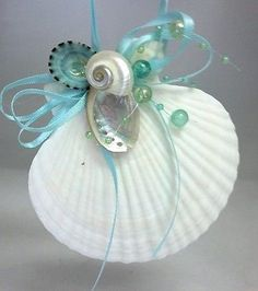 Natural Seashells Aqua Bead Nautical Christmas Ornament Shell Decoration