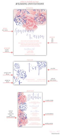 "What information to include on your wedding invitations | Remember the ""3Ws"": who, where, and when, an rsvp card with a deadline date, and a detail card with additional information 