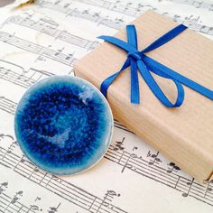 Porcelain Brooch with blue glaze by AliceUnderhill on Etsy, £30.00