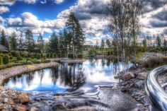 This is a creek floating near the Keskinen Residence in Tuuri, Finland. Taken from a bridge. Canon Dslr, Photoshop Elements, Hdr, Family History, Finland, Waterfall, Bridge, Bucket, River