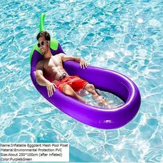 270*110cm Giant Inflatable Eggplant Mesh Pool Float Swimming Board Inflated  Floating Mattress Water Toys
