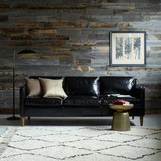 Black leather sofa. So chic.