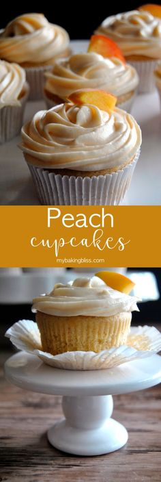 Peach Cupcakes - Full of flavor these light peachy cupcakes are filled with homemade peach compote and topped with peach cream cheese frosting Perfect recipe for spring or summer mybakingbliss cupcakes peach frosting cake fruit Cupcake Frosting Tips, Frosting Recipes, Cupcake Recipes, Cupcake Cakes, Peach Frosting Recipe, Cupcake With Filling, Homemade Frosting, Peach Cupcakes, Spring Cupcakes