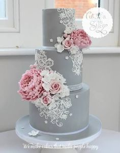 Shared By Spcn Pink And Grey Wedding Cake With Lace Yellow