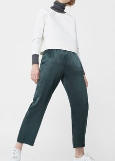 Satin crop trousers - Trousers for Woman | MANGO United Kingdom