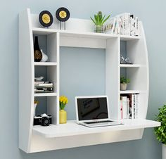 Multifunctional computer desk shelf on the wall.- Wielofunkcyjny komputer biurko półki na ścianie. w tabeli na ścianę Multifunctional computer desk shelf on the wall. Desk Shelves, Wall Shelves Design, Shelving, Wall Desk, Study Table Designs, Home Office Furniture, School Furniture, Wood Table, Small Spaces