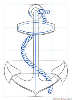how to draw an anchor with rope step by step drawing tutorials for kids and