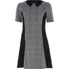 Grey marl panelled fit and flare dress $64.00