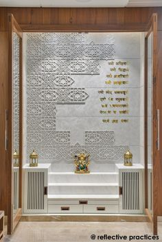 temple design for home Residence Design with An Asymmetrical Expression Pooja Room Door Design, Home Room Design, Home Interior Design, Living Room Designs, House Design, Design Bedroom, Bedroom Decor, Altar, Ceiling Design