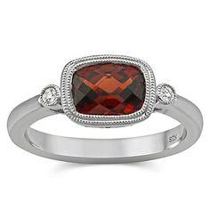 14k White Gold Garnet and Diamond Ring from Borsheims
