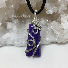 #253 - Purple Dragon Veins Agate silver wire wrapped jewelry necklace pendant