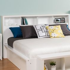 Calla Bookcase Headboard - King size to go along long edge of full-sized bed
