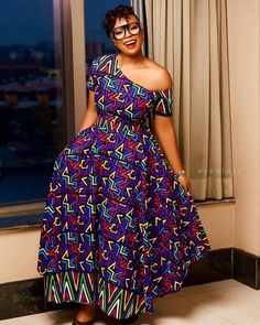 One Sided Off Shoulder Flay Gown African Print Shirt, African Print Dresses, Frock Images, Maxi Gowns, Ankara Gowns, African Bridesmaid Dresses, Ankara Long Gown Styles, Off Shoulder Gown, Button Down Shirt Dress