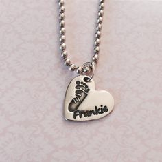 Frankie Footprint Silver Charm Ball Chain Necklace