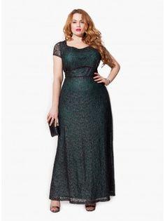 Thalia Plus Size Gown in Jade Noir