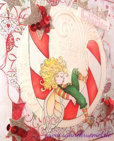"""Christmas Greeting Card using """"Christmas Dreaming"""" from Whimsy Stamps;  Designerpaper """"Annabelle's Christmas"""" Wild Rose Studio; """"XXL Nest-lies Flower"""" and """"Circles Double Stitch"""" Crealies; Star row out of the set """"Small Stars"""" with matching embossing folder Marianne Design; """"Glamorous Christmas Stars"""" Precious Marieke; Glitter cardstock Rayher; Sentiment """"Iris-istible""""; Colored with TwinklingsH2O  Embossingfolder """"Fall Snowflake Swirl"""" von Vaessen Darice"""