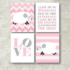 Lamb nursery art decor,  sheep art print baby Lamb, set of 4 nursery prints in pink and grey