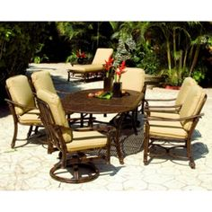 This dining set would be great for those big family gatherings around the pool or just while your grilling out and having fun!