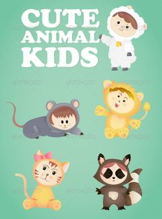 Cute Animal Kids The pack contains a layered EPS file with all of the original vectors, so the file is 100% editable and changing it is made easy as possible, also the main file contains an instruction sheet as well.