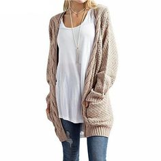 Material: Cotton,AcrylicMaterial Composition: AcrylicStyle: CasualTechnics: Flat KnittedCollar: V-NeckSleeve Length(cm): FullClothing Length: LongItem Type: CardigansSleeve Style: REGULARDecoration: NonePattern Type: SolidClosure Type: Open StitchThickness: STANDARDGender: WomenSize: S/M/L/XL/2XL/3XLColor: Khaki/Wine Red/Black/Light Green/Beige/Coffee/Pink/Army Green Fashionista Trends, Pullover Outfit, Cardigan Outfits, Cable Knit Cardigan, Sweater Cardigan, Long Cardigan, Cardigan Pattern, Boyfriend Cardigan, Oversized Cardigan Outfit