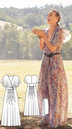 Retro-Look Maxi Dress Burda Jun 2017 #109 http://www.burdastyle.com/pattern_store/patterns/retro-look-maxi-dress-062017
