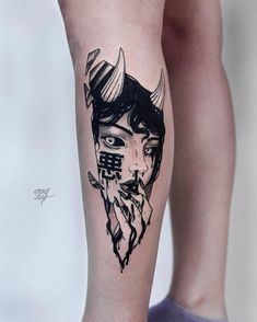 Search inspiration for a Blackwork tattoo. Mädchen Tattoo, Hannya Tattoo, Dark Tattoo, Piercing Tattoo, Tattoo Drawings, Trendy Tattoos, New Tattoos, Body Art Tattoos, Sleeve Tattoos