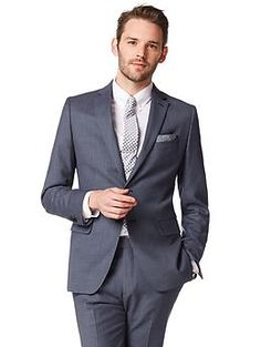 Banana Republic | Tailored-Fit Textured Navy Wool Suit Jacket