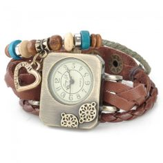 Retro Braided Split Leather Band Rectangle Dial Analog Woman Bracelet Watch Brown and Bronze (1 x AG4)