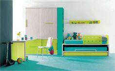 Alegre dormitorio Juvenil en tonos azules y verdes