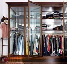 via living etc Open wardrobe? Yes please. Glass Wardrobe, Open Wardrobe, Wardrobe Closet, Closet Space, Wardrobe Storage, Bedroom Wardrobe, Room Closet, Perfect Wardrobe, Dressing Room Design