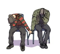 In time out lol They have to hold hands lol - Top-Trends Horror Movies Funny, Horror Films, Scary Movies, Horror Art, Scary Movie Characters, Slasher Movies, Horror Pictures, Horror Icons, Fanart
