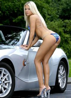 Sexy blonde with nice car. More sexy women at http://sexy-calendars.net | http://car-calendars.net