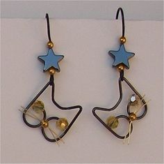 Black Wire Cat Earrings with Stars - 1 pair