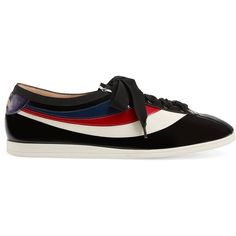 Gucci Patent Leather Low-Top Sneaker With Web ($610) ❤ liked on Polyvore featuring men's fashion, men's shoes, men's sneakers, men, shoes, sneakers, mens low profile shoes, mens shoes, mens low profile sneakers and gucci mens shoes