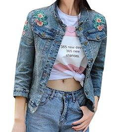 1588dd976f7163 Coolred Women Embroidered Button Down Trim-Fit Long Sleeve Denim Jacket As  Picture S Stylish