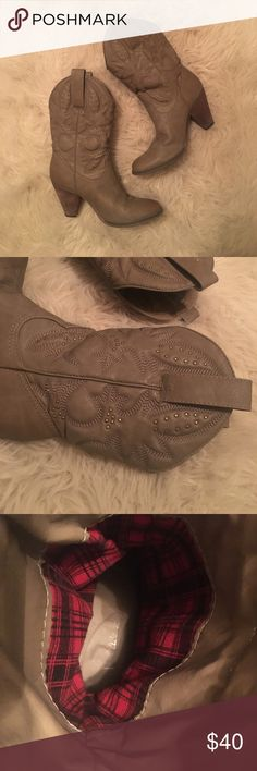 Cowgirl Boots Adorably cute grayish brown cowgirl boots. They are just darling with a sundress or a pair of blue jeans. Show a little wear on the heal as shown in the last picture but still are like brand new! Shoes Heeled Boots