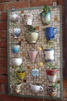 Teacups and Coffee Mugs Upcycled Into Mosaic Board: