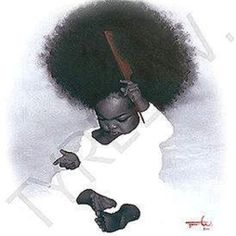 This little one made me smile - and WHAT an afro! Black Love Art, Black Girl Art, My Black Is Beautiful, Black Girl Magic, Art Girl, Black Love Images, African American Art, African Art, Natural Hair Art