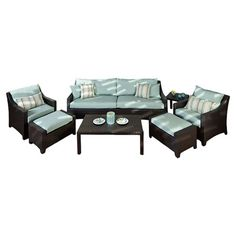 Perfect for relaxing near the pool or on the patio, this woven indoor/outdoor seating group set features fade-resistant cushions and aluminum framing. Includ...