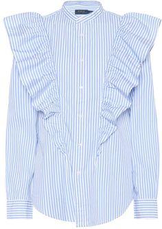 Discover Polo Ralph Lauren - a cult classic in sophisticated dressing. France Outfits, Ralph Lauren Womens Clothing, Work Shirts, Mandarin Collar, Alternative Fashion, High Waist Jeans, Polo Ralph Lauren, Cute Outfits, Ruffle Blouse