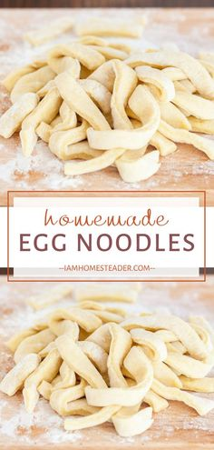 Prepare a fresh batch of Homemade Egg Noodles from scratch with just 5 ingredients! This basic old-fashioned recipe is a great way to use up your extra eggs. Fresh eggs make fresh pasta even better! Add this to your dinner menu ideas! Macaroni Recipes, Chicken Pasta Recipes, Easy Pasta Recipes, Easy Dinner Recipes, Easy Meals, Noodle Recipes, Easy Homemade Recipes, Spicy Recipes, Steak Recipes